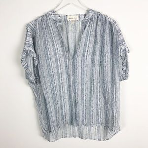 Cloth & Stone Button Down Short Sleeve Blouse Blue